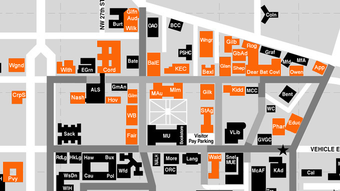 Map of Enhanced Classrooms at OSU