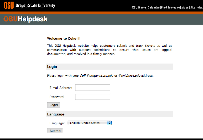Login to the Coho II Helpdesk
