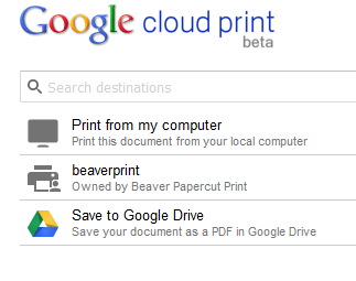 Google cloud print in other browsers