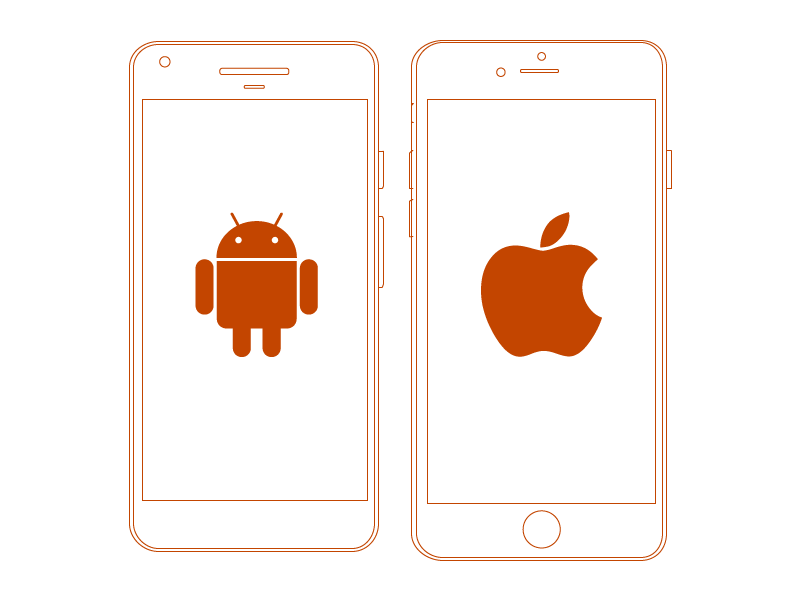 Android and iPhone graphic