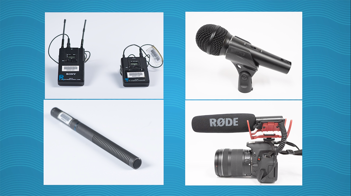4 different microphones. A lapel mic, shotgun mic, boom mic, and handheld mic