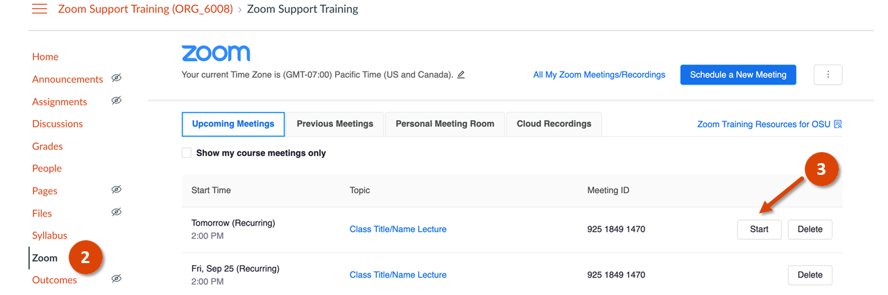 Start Your Zoom Class Meeting