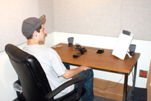 Student Using Audio Recording Room