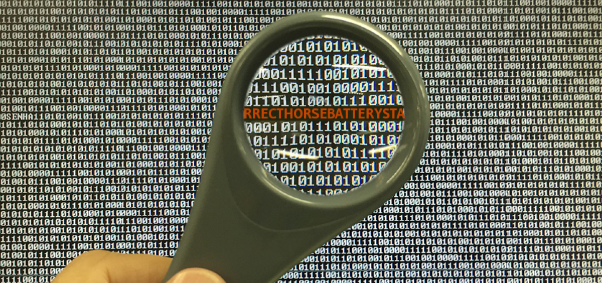 Looking through a magnifying glass at a password or passphrase in a sea of binary code.