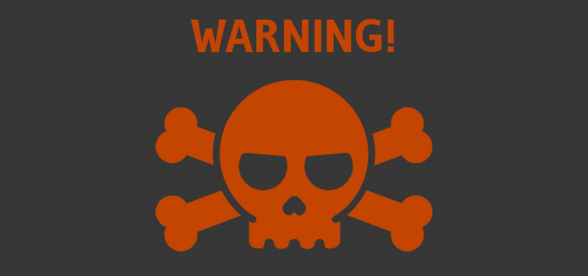 Warning! with skull and crossbones