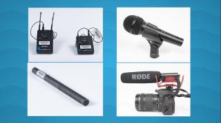 4 different microphones. A lapel mic, shotgun mic, boom mic, and handheld mic